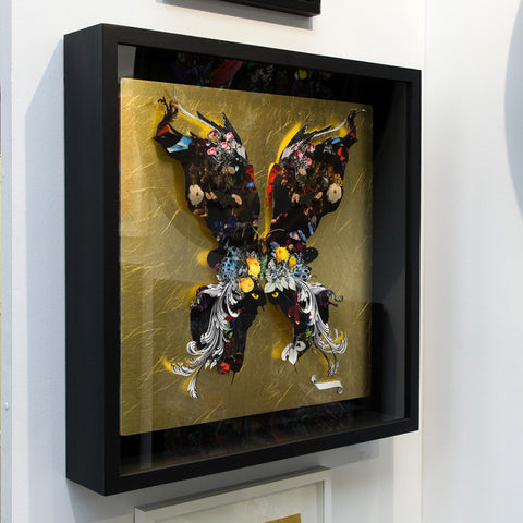 Dark butterfly gold leafed Original artwork by artist Kristjana S Williams
