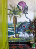 Landscape wallpaper with a giant ostrich by artist Kristjana S Williams photographed by Amy at Innervaters