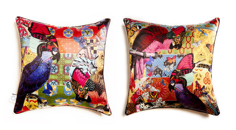 Red Parrot Tapestry Cushion silk