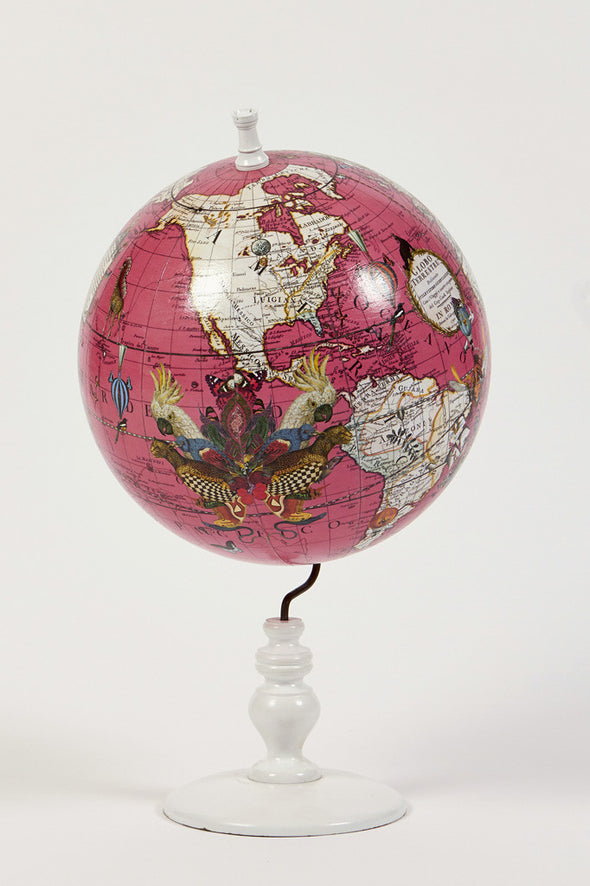 World Map Globe Bright Pink Small - Kristjana S Williams Studio