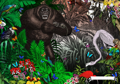 Gorilla art print from Wonder Garden children's book by artist Kristjana S Williams
