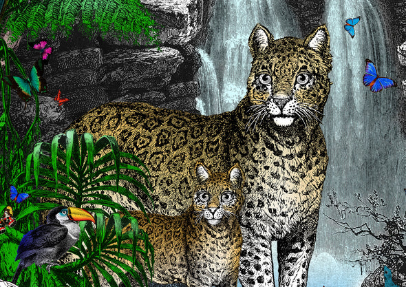 The Amazon Rain Forest - Jaguar Panthera and her cub - Art Print - Kristjana S Williams Studio