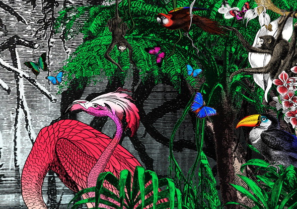 The Amazon Rain Forest - Pink Flamingo by the Lake - Art Print - Kristjana S Williams Studio