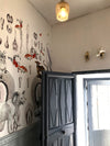 The Blue Botanical Snow Leopard Wall Mural - Kristjana S Williams Studio