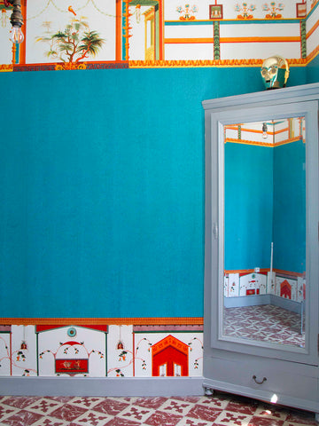 Turquoise wallpaper by artist Kristjana S Williams photographed by Amy at Innervaters