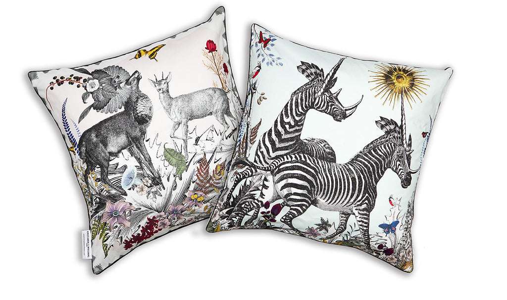 Thistle Zebra & Deer Cushion cotton