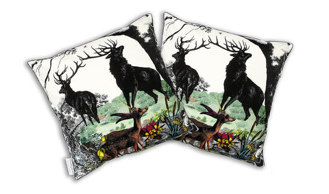 Twin Stag Cushion cotton