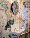 World Map Animal Light Wall Mural - Kristjana S Williams Studio