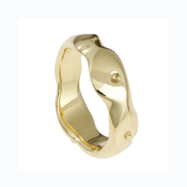 Carved 18ct Yellow Gold Medium Band Ring