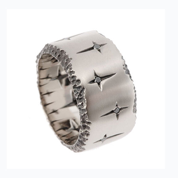 Trinity 18ct White Gold Wide Band Ring With Black Diamonds