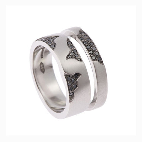 Blitz Platinum Wide Band Ring With Black Diamonds