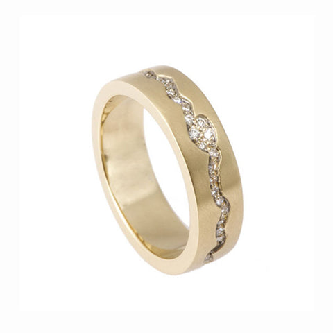 Blitz 'Pulse' 18ct Yellow Gold Band Ring With White Diamonds