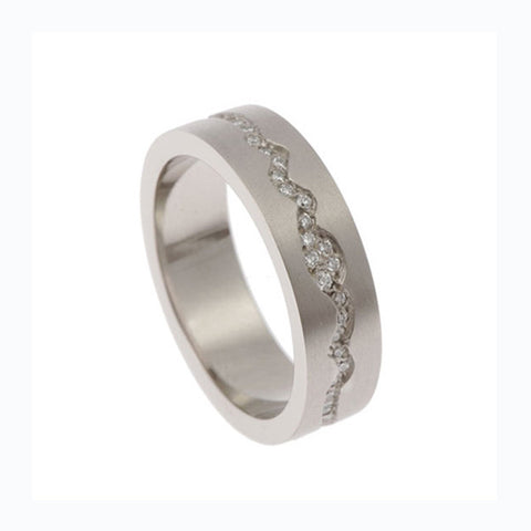 Blitz 'Pulse' Platinum Band Ring With Diamonds