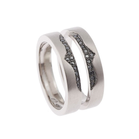 Blitz 18ct White Gold Ring With Black Diamonds