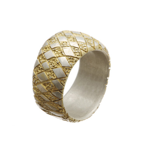 Chequered Silver Curved Ring With Gold Plate Detail