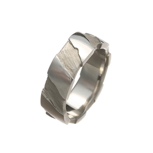Striped 18ct White Gold Medium Ring