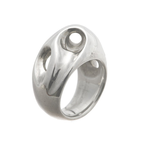 Abstract Heavy Silver Bombé Ring