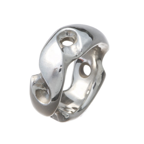 Abstract Wide Silver Ring