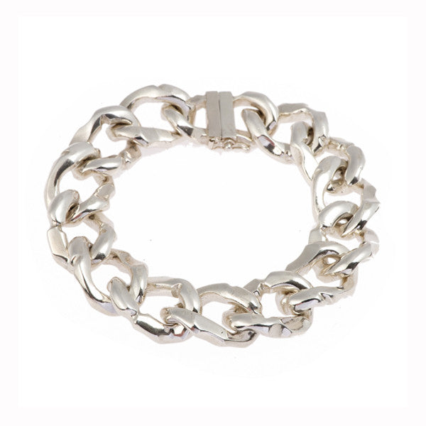 Carved Silver Heavy Curb Link Bracelet