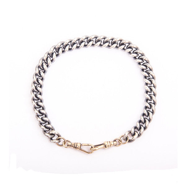 Silver Curb Link Bracelet With 9ct Gold Clasp