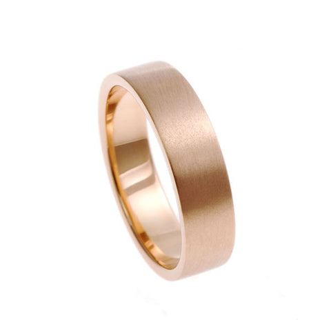 Blue 18ct Rose Gold Square Cut Band Ring
