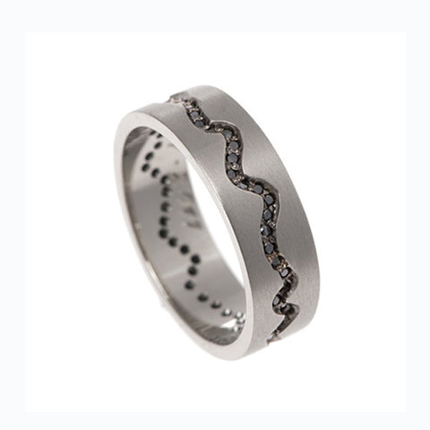 Blitz 'Pulse' 18ct White Gold Band Ring With Black Diamonds