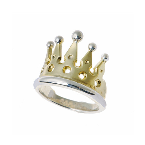 Kings And Queens Silver And Gold Plate Crown Ring