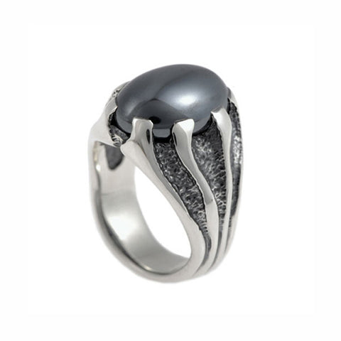Libertine Silver Ring With Hematite