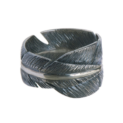 Feathers Wide Silver Wrap Around Ring