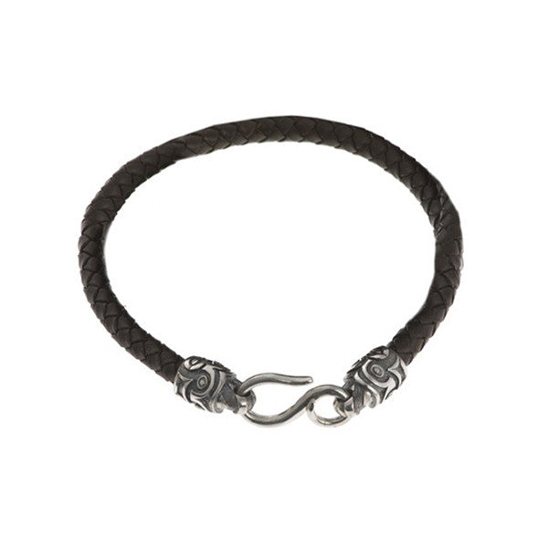 Tiki Plaited Leather Single Bracelet With Silver Ends