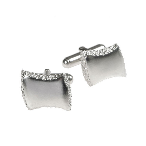 Trinity Silver Textured Edge Cufflinks