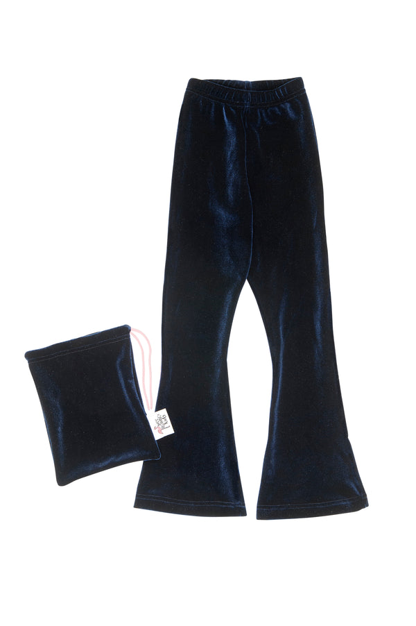 Navy Blue Velvet Bell Bottoms