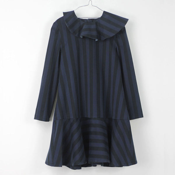 Mia Dress, Black & Blue Stripes