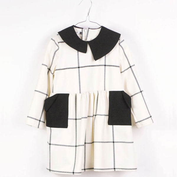 Yumiko Dress, White & Black Grid