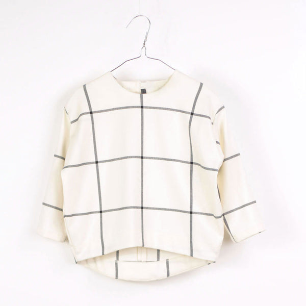 Selena Top, White & Black Grid