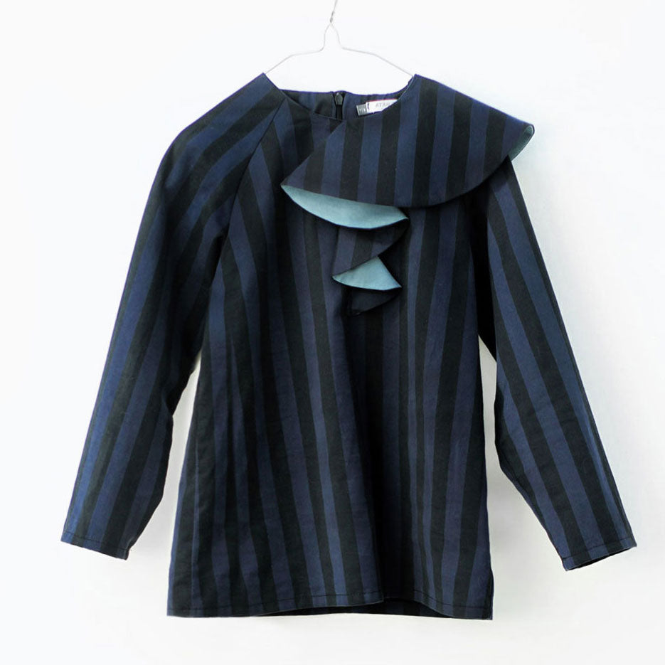 Ona Blouse, Black & Blue Stripes