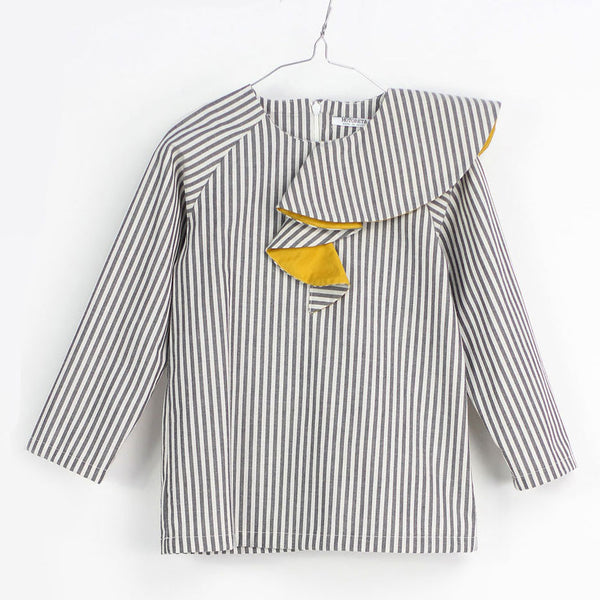 Ona Blouse, White & Grey Stripes