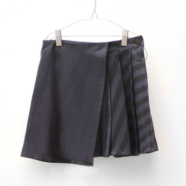 Hayako Skirt, Black & Blue Stripes