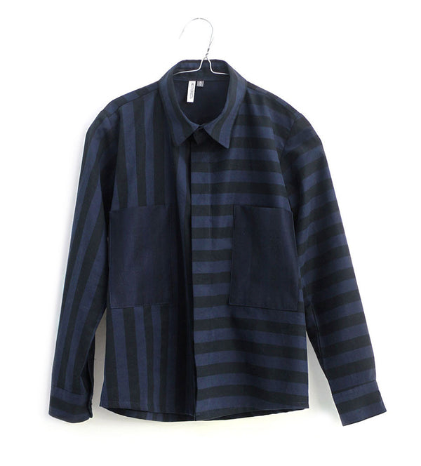 Hans Shirt, Black & Blue Stripes