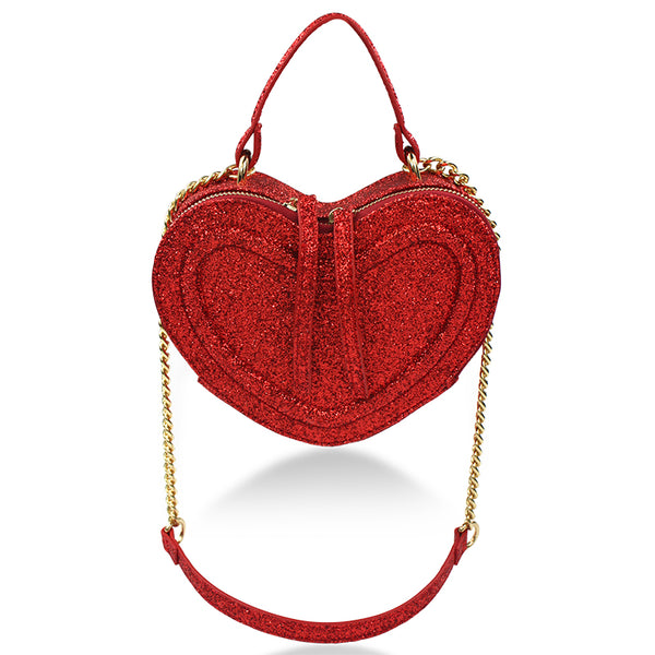 Glitter Heart Bag, Red