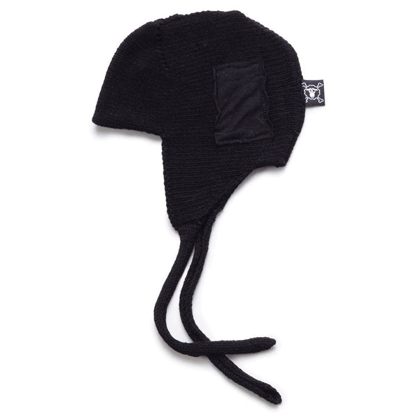 Knitted Patch Hat, Black
