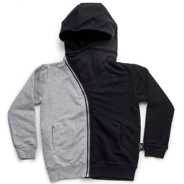 Half & Half Zip Hoodie, Black & Heather Grey