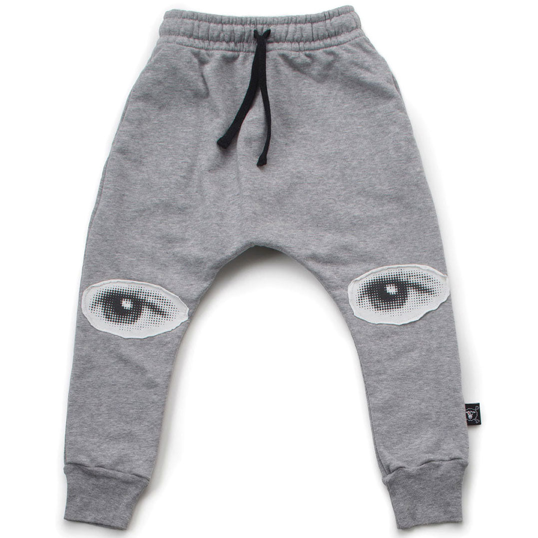 Eye Patch Baggy Pants, Heather Grey