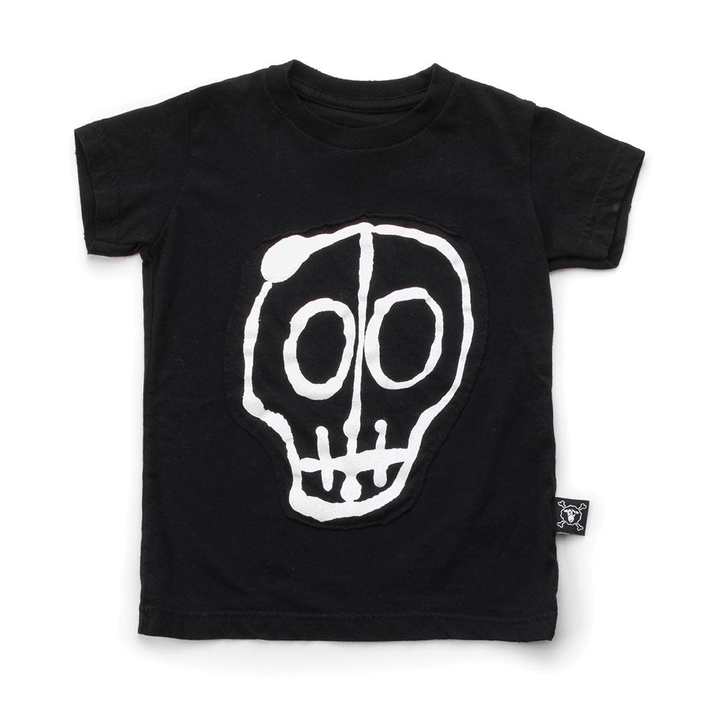Skull Mask Patch T-shirt, Black