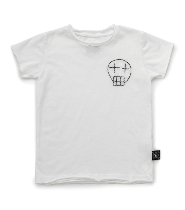 Embroidered Sketch Skull White Tshirt
