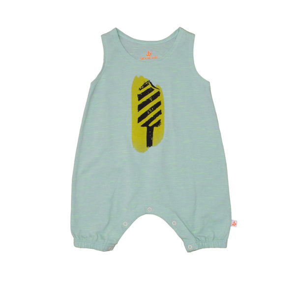 Baby Tank Overall, Mint with Yellow Ice Cream