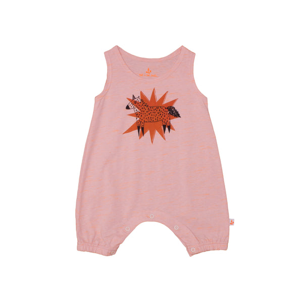 Baby Tank Overall, Peach with Unicorn