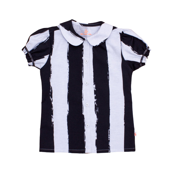 Girls Blouse, Black Stripes