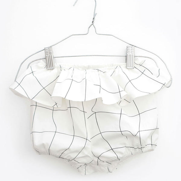 Xerez Baby Shorts, White & Black Grid
