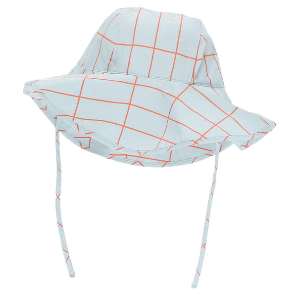 Grid Sun Hat, Light Blue